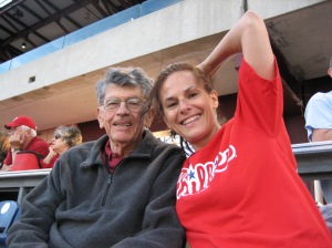 With my dad at the Phillies versus Mets game August 22, 2011